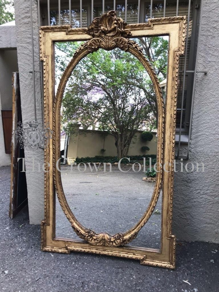 20th Century French Louis Style Oversized Carved Giltwood Mirror in Neo Classical Taste