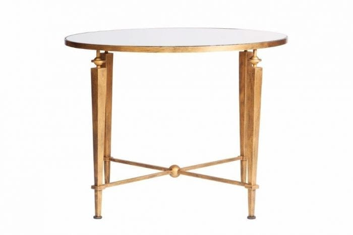 Round Gilded Wrought Iron Table with Mirror Top