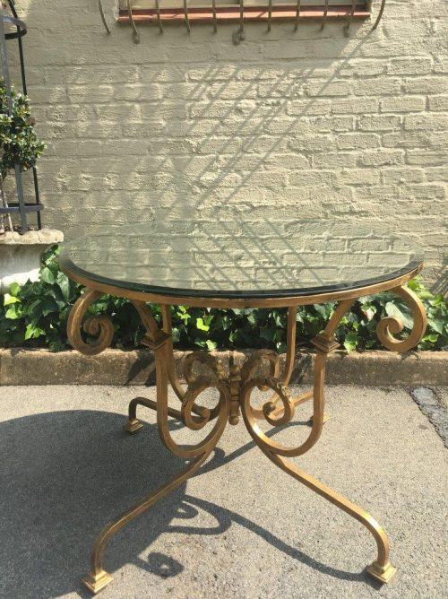 Gilded Wrought Iron Table Base with Mirror Top