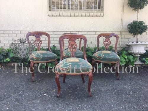 Set of 4 Victorian Mahogany Carved Dining Chairs on Cabriole Legs