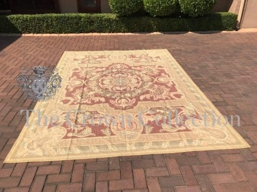 Hand Embroidered Aubusson Gobelin Carpet