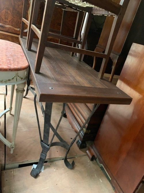 Wrought Iron Server Table with Oak Top & Stud Detail - ND