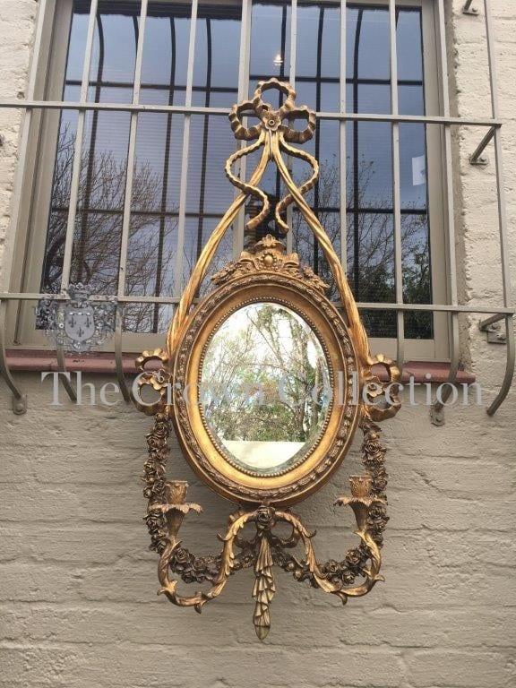 Ornate Gilt Framed Mirror with Pair Candelabra