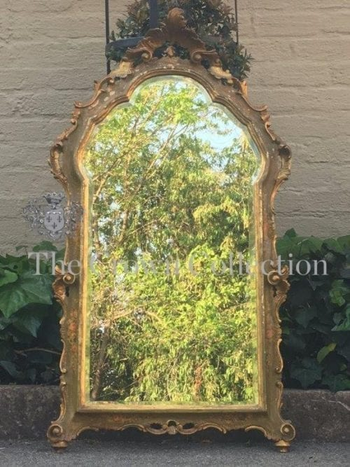19th Century Gilt & Painted Mirror with Bevelled Plate