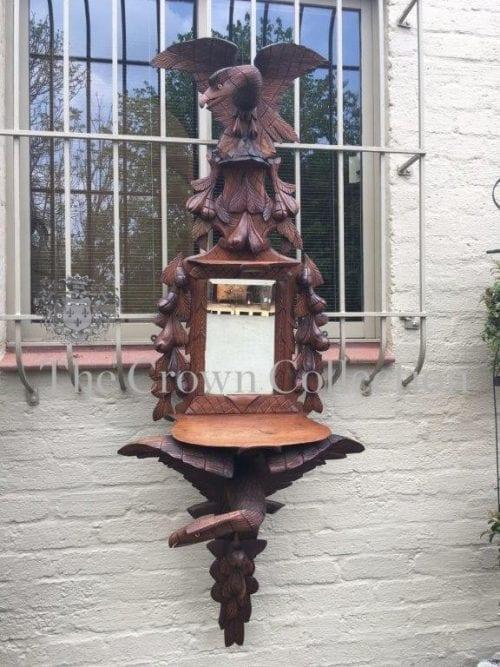 European Ornately Carved Oak Eagle Mirror