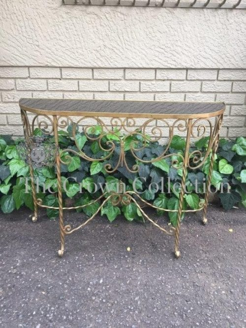 Glass Topped Brass Console Table
