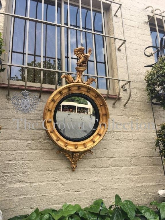 19th Century Antique Regency Giltwood Convex Mirror