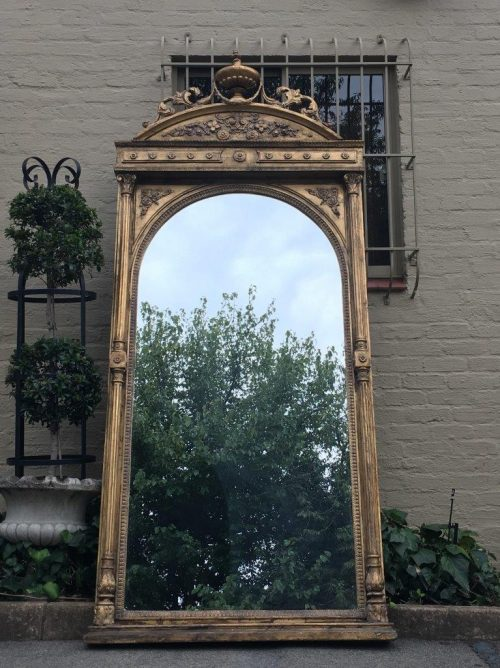 Antique Ornate Oversized Gilded Mirror