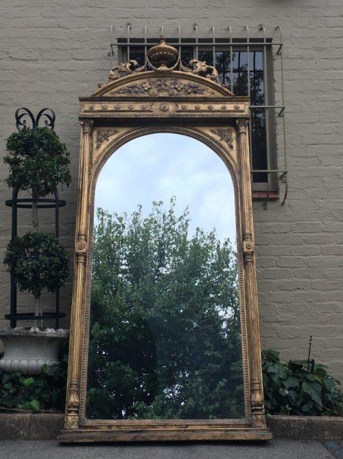 Antique Ornate Oversized Gilded Mirror