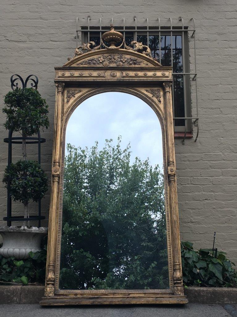Antique Ornate Oversized Gilded Mirror The Crown Collection