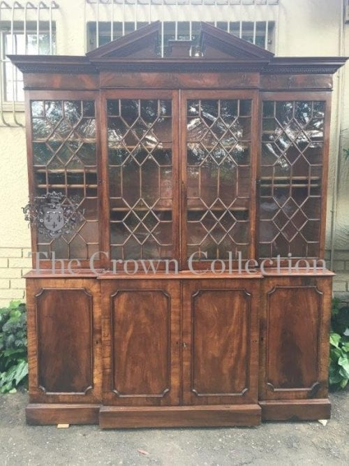 Large Victorian Mahogany Breakfront Bookcase with Astral-Glazed Doors in the Top Section
