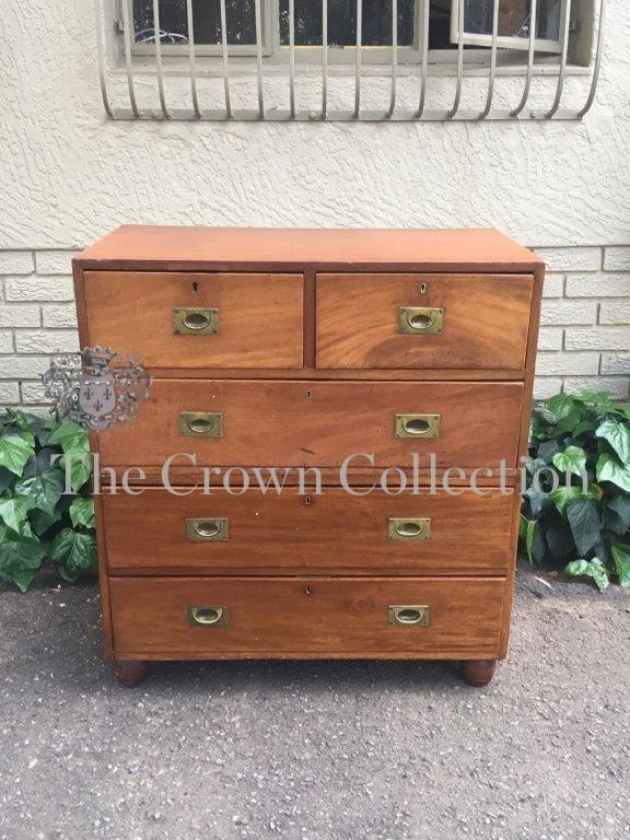 19th Century Military Chest of Drawers with Original Recessed Brass Hardware