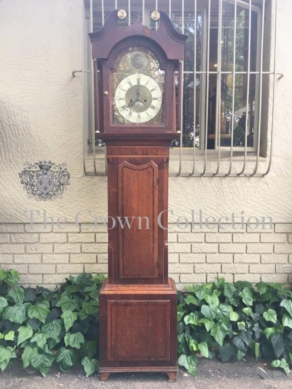 Georgian Inlaid Mahogany & Oak Longcase Clock