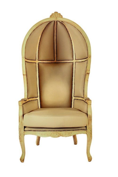 Bleached Porter chairs covered in beige fabric *Brand new upholstery*