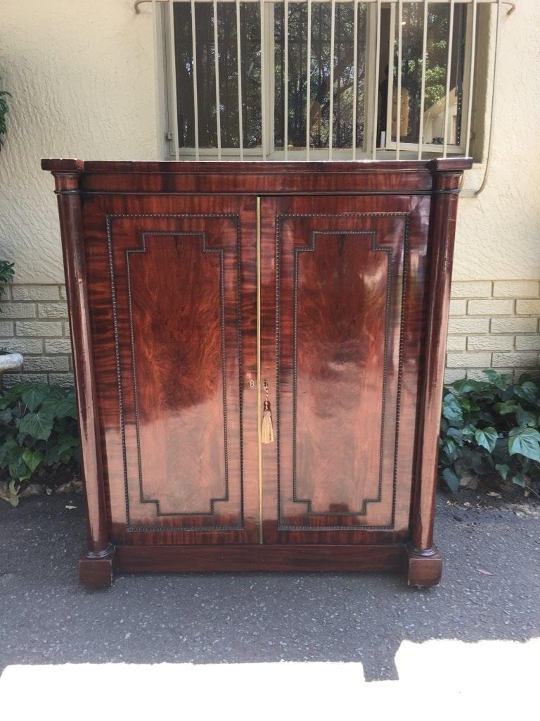 Antique Cabinet with Sliding Open Shelves & Drawers