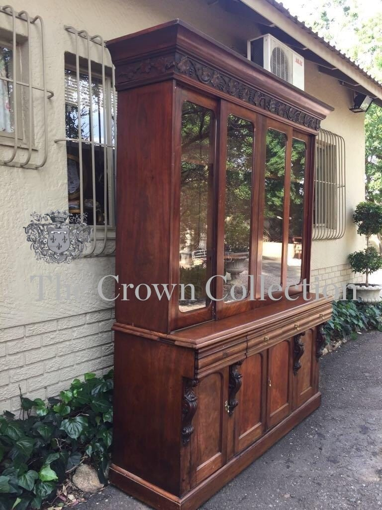 Victorian Mahogany Bookcase/Cabinet with Vine Leaf Frieze above Glazed Sliding Doors - Four Drawers & 4 Doors