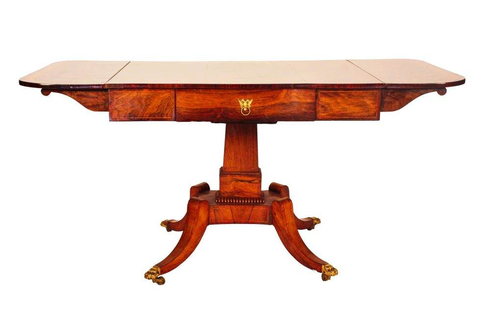 Regency Rosewood Sofa Table With Crossbanding And