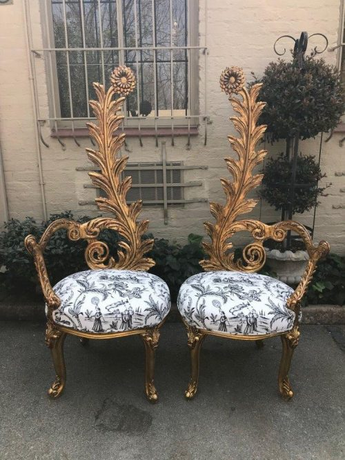 Pair Flower Leaf Statement Gilded Chairs