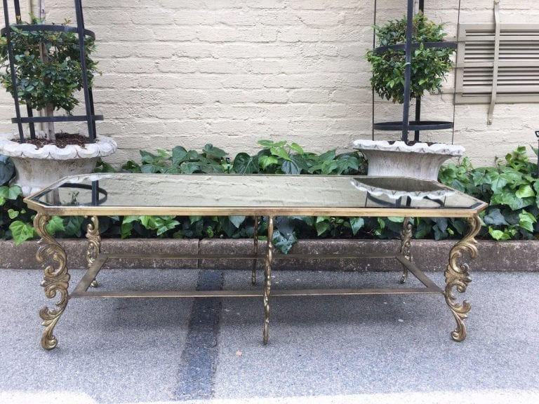 Wrought Iron Gilded Coffee Table with Ornate Legs - ND