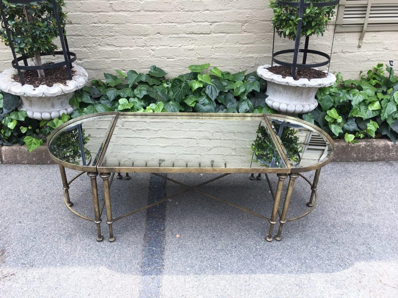 Set of 3 Wrought Iron Gilded Coffee Tables with Mirror Inlay