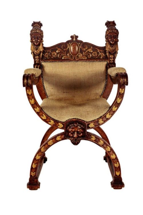 Pair Mid 19th Century Italian Oak Carved Savonarola Chairs