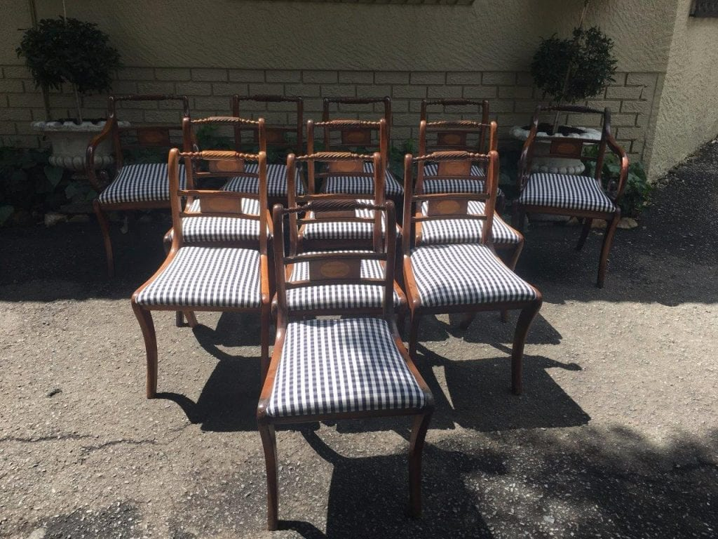 Set of 12 Regency Style Inlaid Mahogany Dining Chairs
