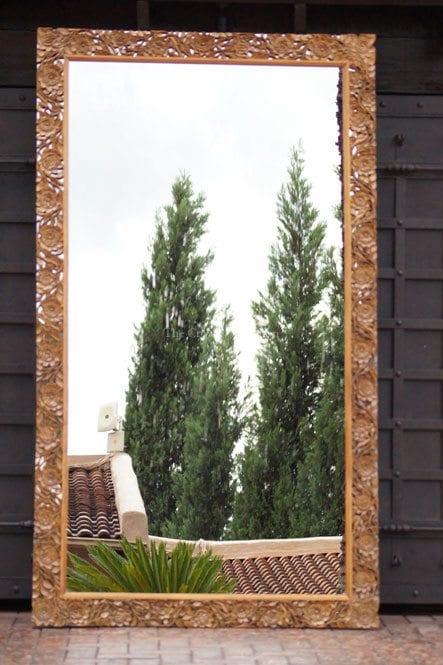 Oversized Walnut Carved Mirror