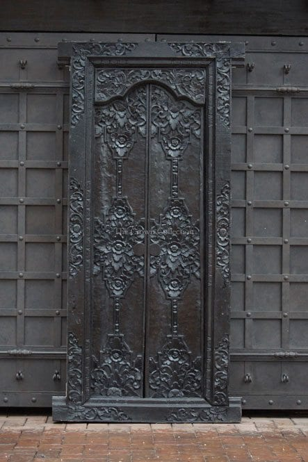 19th Century Black Carved Doors And Frame