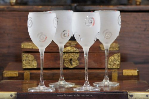 Set Of 4 French Frosted Wine Glasses