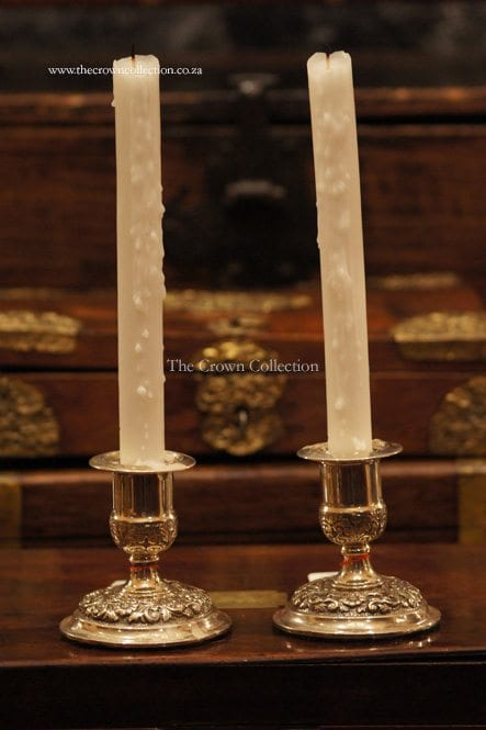 Pair Victorian Walker & Hall Silver Candlesticks