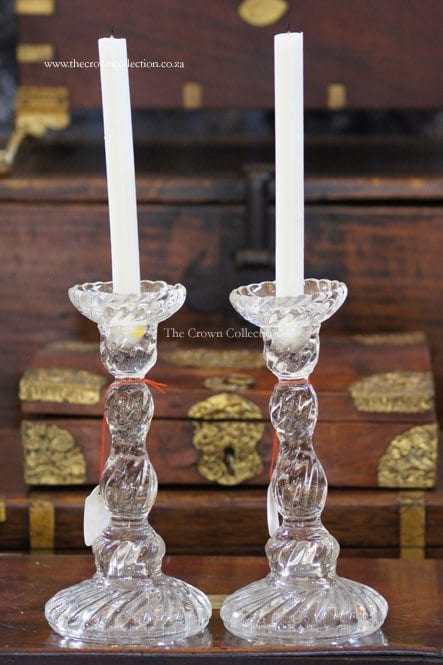 Pair Glass Candlesticks (Small Chip)