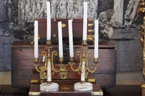 Pair Marble Brass 3 Arm Candelabras