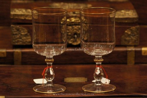 Pair Crystal Wine Glasses With Gold Rim