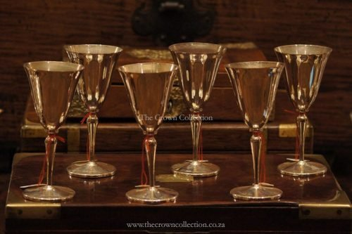 Set Of 6 Spc Wine Goblets With Rhodesian Markers Stamp