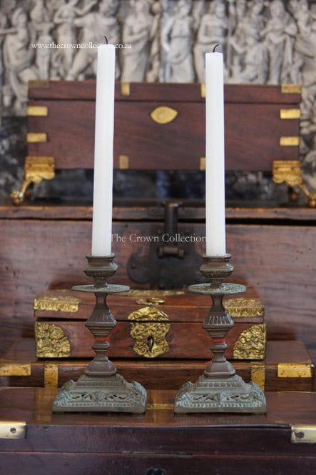 Pair French Brass Candle Holders