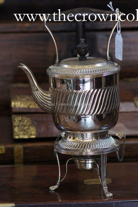 Silver Plated Tea Kettle On Stand With Burner (Black Handle)