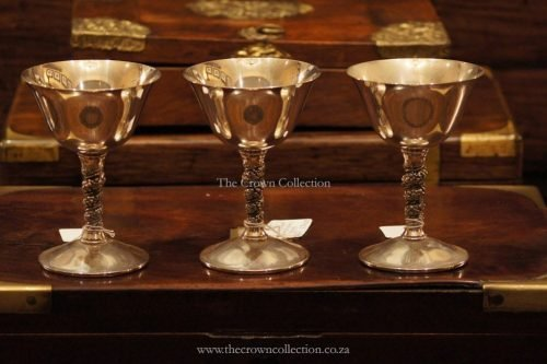 Set Of 3 Silver Plated Spanish Valero Goblets