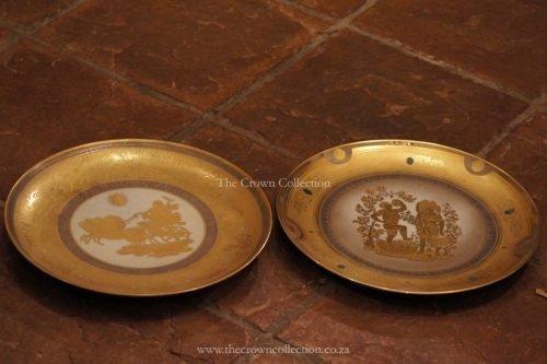 Pair Italian Gold & Silver Wall Plates