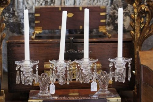 Pair Vintage Glass Candlesticks With Prisms