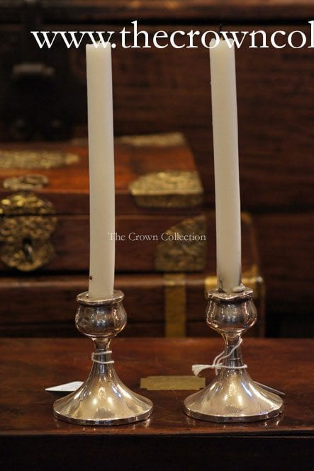 Pair 197G Silver Vintage Candlesticks ND