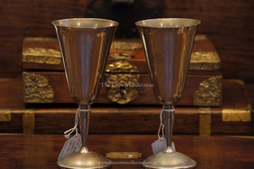 Pair Silver Plate Spanish Goblets