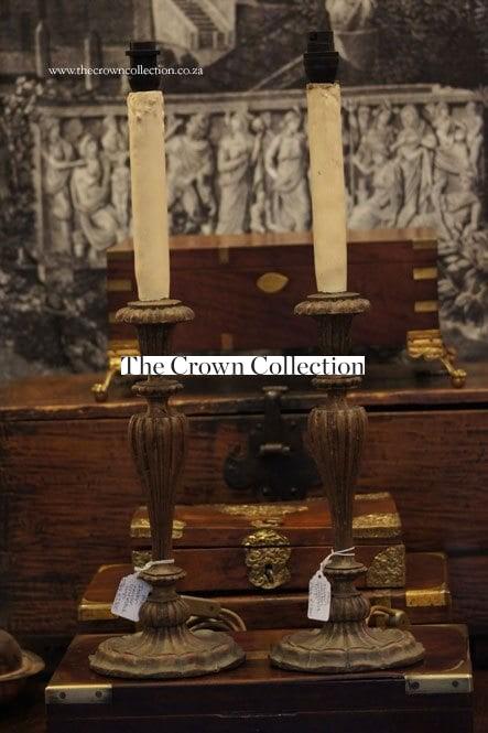 Pair Italian Wooden Candlestick Lamps