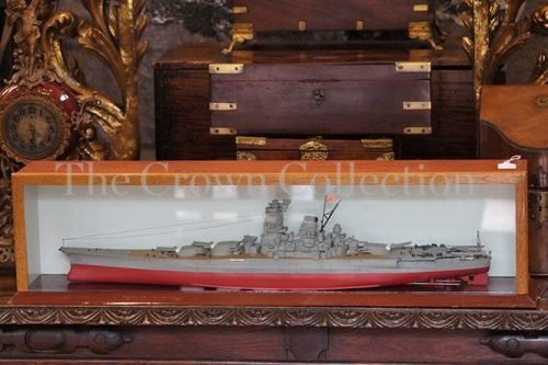 Model Ship Enclosed In Wooden & Glass Case