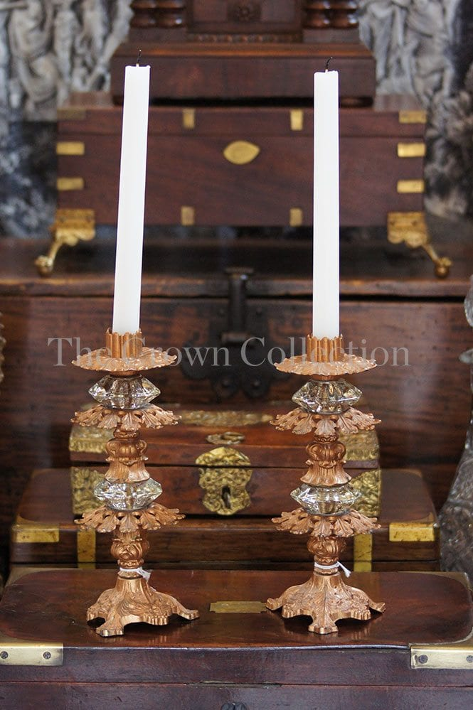 Pair Urmolo Baroque Rococco Candlesticks (One Foot Chipped)