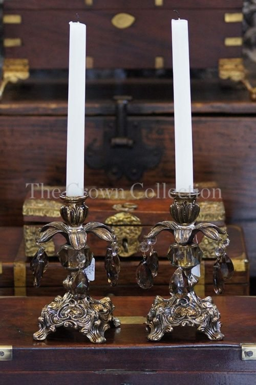Pair Vintage Regency Candlesticks With Smokey Crystals