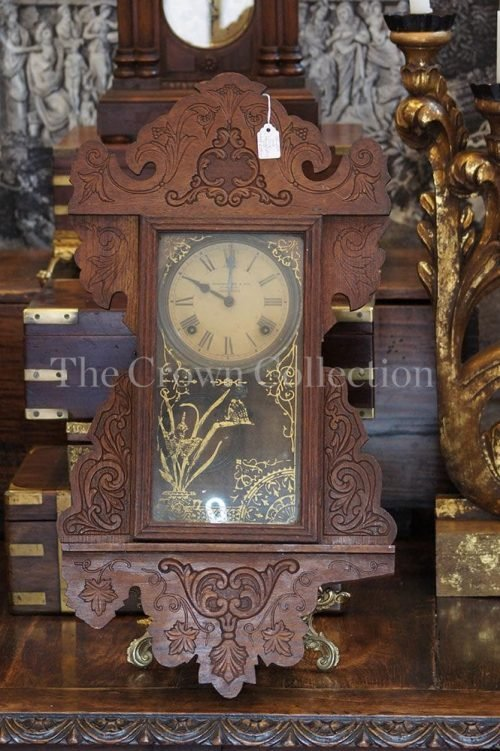 Carved Oak Clock L Mendelsohn & Co