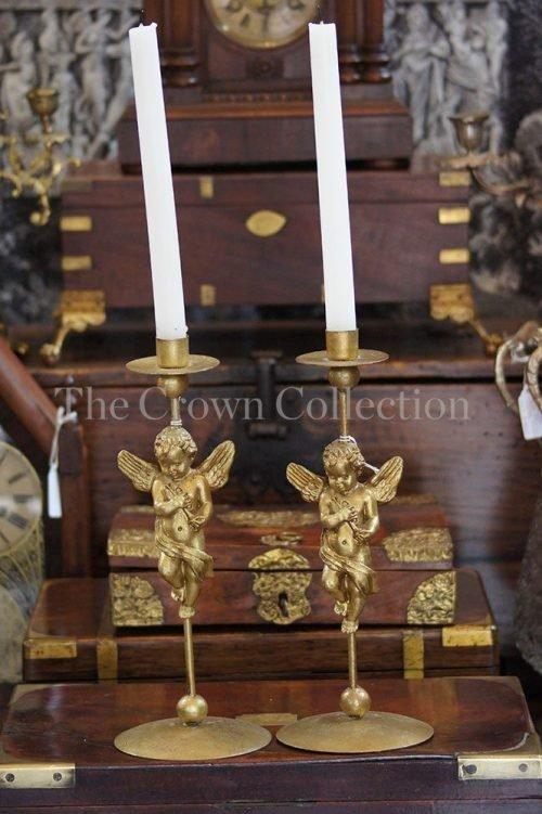 Pair Vintage Brass Gilded Candlesticks