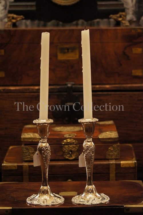 Pair Godinger Baroque Silver Plated Candlesticks