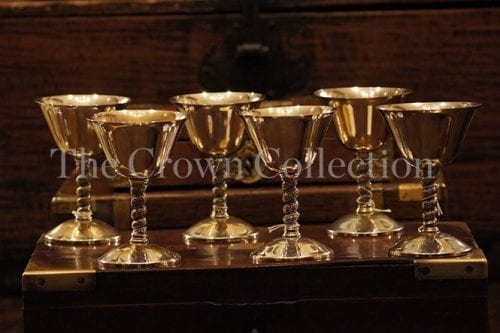 Set Of 6 Spanish Stamped Silver Plate Goblets