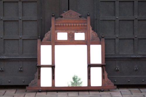 Aesthetic Movement small Over Mantle Walnut Mirror circa 1900